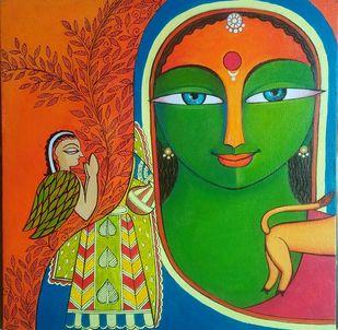 Aparajita-3 by Meenakshi Jha Banerjee, Traditional Painting, Canvas on Board, Green color