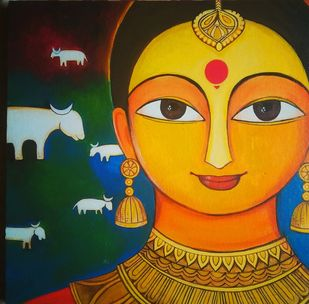 Gaaye(cow) by Meenakshi Jha Banerjee, Traditional Painting, Canvas on Board, Brown color
