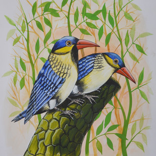 Birds Painting 36 by santosh patil, Decorative Painting, Watercolor on Paper, Beige color