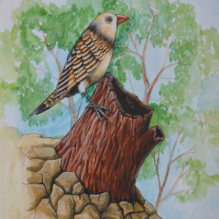 Birds Painting 41 by santosh patil, Expressionism Painting, Watercolor on Paper, Beige color