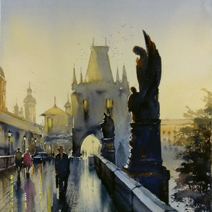 Charles Bridge by Sunil Linus De, Impressionism Painting, Watercolor on Paper, Gray color