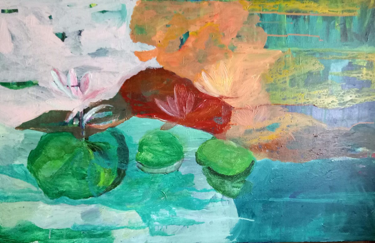 Song of the pond by Rupinder kaur, Abstract Painting, Acrylic on Canvas, Cyan color