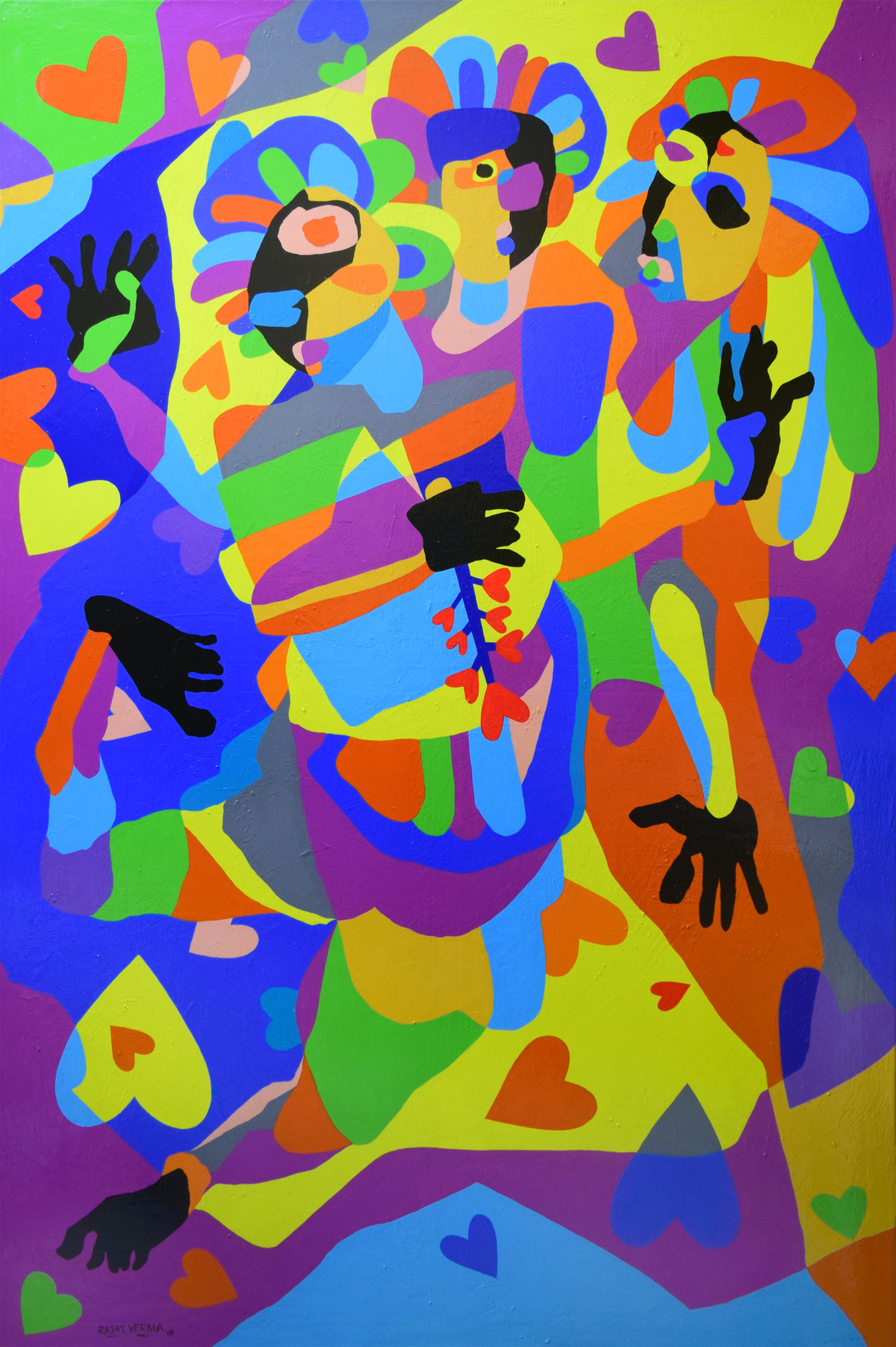 Best Friends by Rajat Verma, Pop Art Painting, Acrylic on Canvas, Blue color