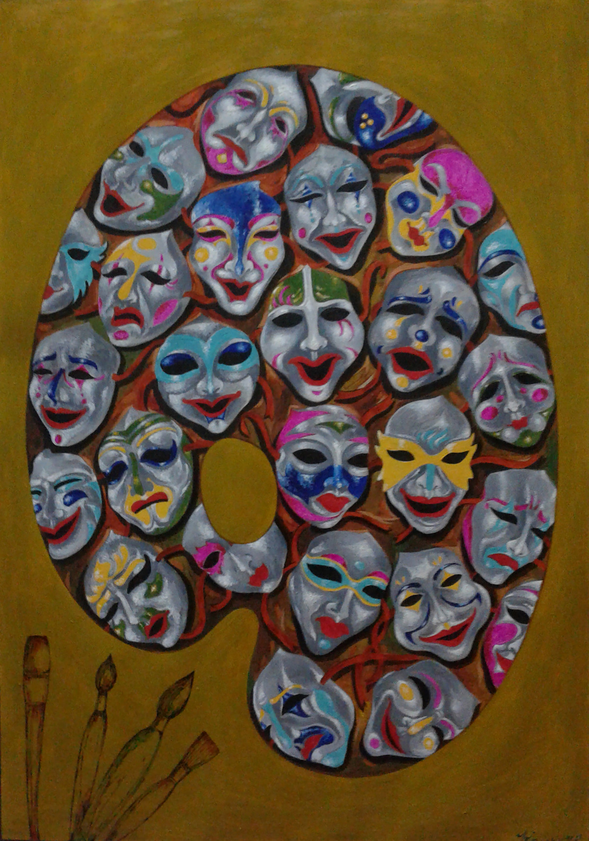 PALETTE - COLOURS OF THE MIND by KAUSIK KARMAKAR, Expressionism Painting, Acrylic & Ink on Paper, Brown color