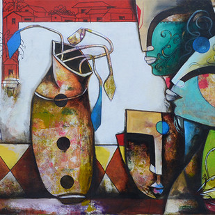 Eternal Bonding by anupam pal, Decorative Painting, Mixed Media on Canvas, Brown color