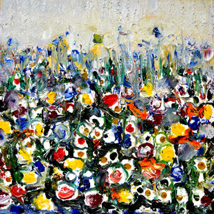 FLOWERS FLOWERS AND FLOWERS-1 by Anand Swaroop, Abstract Painting, Oil on Canvas, Brown color