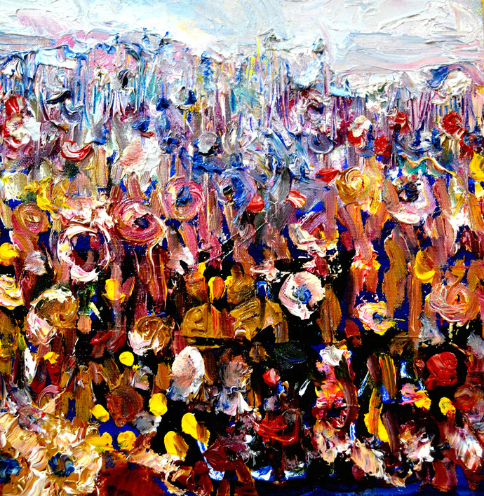 FLOWERS FLOWERS AND FLOWERS-3 by Anand Swaroop, Abstract Painting, Oil on Canvas, Brown color