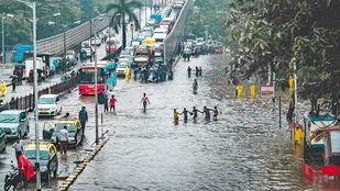 Mumbai Monsoon. by Dinesh Shringi, Image Photography, Canvas on Board, Gray color