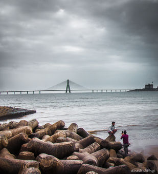Cloudy evening in Mumbai. by Dinesh Shringi, Image Photography, Canvas on Board, Gray color