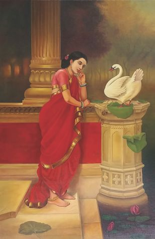 hansa damayanthi by Augustine Devotta, Traditional Painting, Oil on Canvas, Brown color