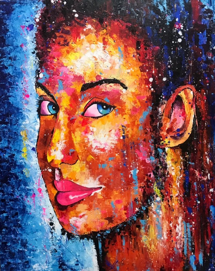 Beauty in itself by Samta, Expressionism Painting, Acrylic on Canvas, Brown color