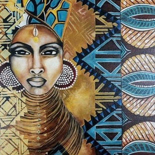 Egyptian beauty by Samta, Expressionism Painting, Oil on Canvas Board, Brown color