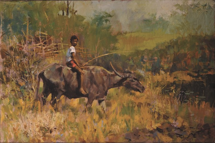 Buffalo Ride by John Fernandes, Realism Painting, Oil on Canvas, Yellow Metal color