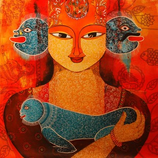 Adoption-4 by Meenakshi Jha Banerjee, Traditional Painting, Acrylic on Canvas, Brown color