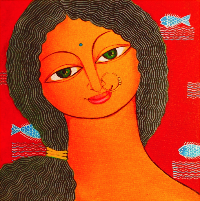 Fishy by Meenakshi Jha Banerjee, Traditional Painting, Canvas on Board, Brown color