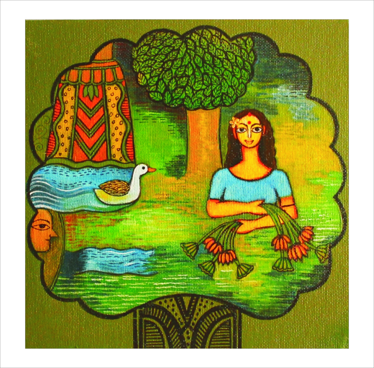 Grihasta by Meenakshi Jha Banerjee, Expressionism Painting, Canvas on Board, Green color