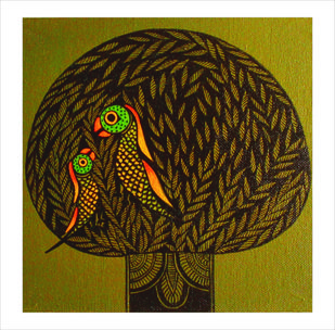 Prakrit by Meenakshi Jha Banerjee, Traditional Painting, Canvas on Board, Brown color