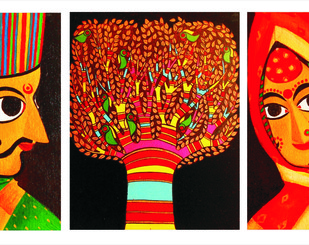 Guftagu (set of 3) by Meenakshi Jha Banerjee, Expressionism Painting, Canvas on Board,
