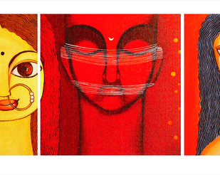 Silence (set of 3) by Meenakshi Jha Banerjee, Expressionism Painting, Canvas on Board,