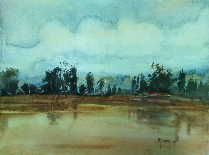 Nature by Rudra Majithia, Impressionism Painting, Watercolor on Paper, Cyan color