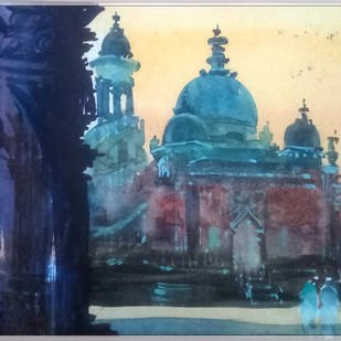 Mahabat Maqbara, Junagadh by Rudra Majithia, Impressionism Painting, Watercolor on Paper, Blue color
