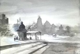 Holy Ghaat by Rudra Majithia, Impressionism Painting, Watercolor on Paper, Gray color