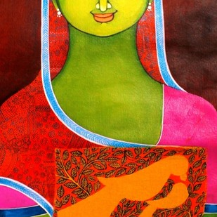 Consent by Meenakshi Jha Banerjee, Traditional Painting, Acrylic on Canvas, Red color