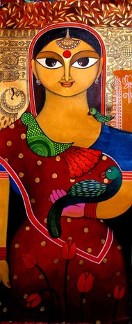 Content by Meenakshi Jha Banerjee, Expressionism Painting, Acrylic on Canvas, Brown color