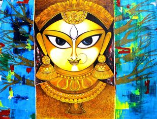 Gold_mother by Meenakshi Jha Banerjee, Traditional Painting, Acrylic on Canvas, Blue color