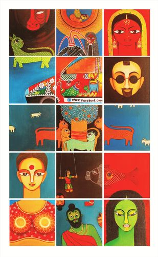 Confluence (set of 15) by Meenakshi Jha Banerjee, Expressionism Painting, Canvas on Board, Brown color