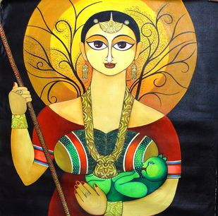 Protection by Meenakshi Jha Banerjee, Traditional Painting, Acrylic on Canvas, Brown color