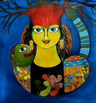 Mother power by Meenakshi Jha Banerjee, Expressionism Painting, Acrylic on Canvas, Blue color