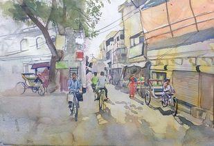 street corner by Sreenivasa Ram Makineedi, Impressionism Painting, Watercolor on Paper, Gray color