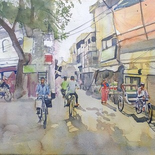 street corner by Sreenivasa Ram Makineedi, Impressionism Painting, Watercolor on Paper, Gray color