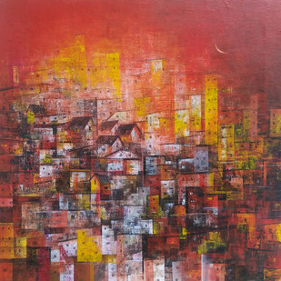 city of my dream_52 by M Singh, Geometrical Painting, Acrylic on Canvas, Brown color