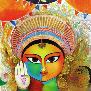 Mother by Meenakshi Jha Banerjee, Expressionism Painting, Acrylic on Canvas, Brown color