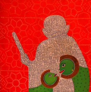 Gujrat_Gandhi_aur mai by Meenakshi Jha Banerjee, Traditional Painting, Acrylic on Canvas, Red color