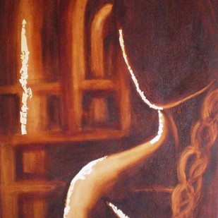 Catch the Light by Deepa Kern, Expressionism Painting, Oil on Canvas, Brown color