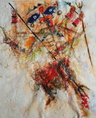 Bhawani by Archana Sharma, Abstract Painting, Acrylic & Ink on Canvas, Brown color