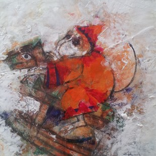 playtime by Archana Sharma, Expressionism Painting, Acrylic & Ink on Canvas, Gray color
