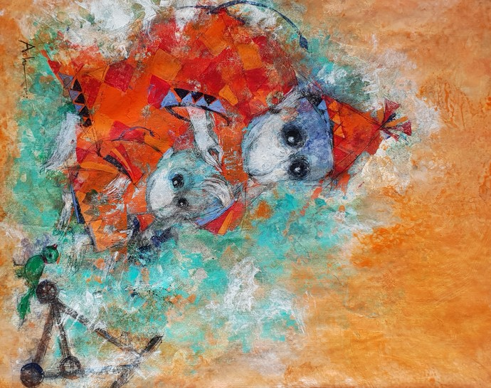 mothers love by Archana Sharma, Expressionism Painting, Acrylic & Ink on Canvas, Brown color