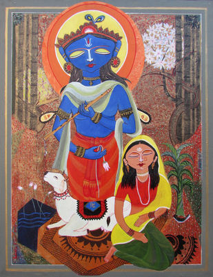 Untitled by Ashok Roy, Traditional Painting, Acrylic on Canvas, Brown color