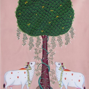 untitled by Banwari Lal Jangid, Traditional Painting, Acrylic on Canvas, Pink color