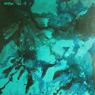 Aqua by Vernika , Abstract Painting, Acrylic on Canvas, Cyan color