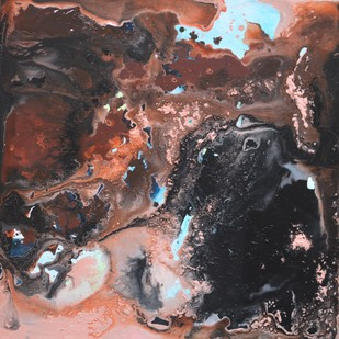 Moon by Vernika, Abstract Painting, Acrylic on Canvas, Brown color