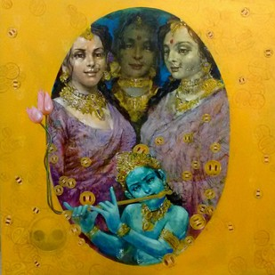 Flute and child by Saumya Bandyopadhyay, Traditional Painting, Acrylic on Canvas, Orange color