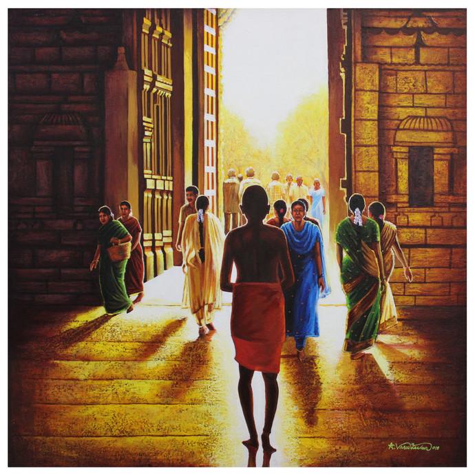Morning worship by Vasudevan Annamalai, Impressionism Painting, Acrylic on Canvas, Brown color
