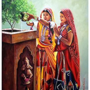 Morning worship by Vasudevan Annamalai, Expressionism Painting, Acrylic on Canvas, Brown color