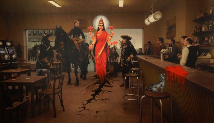 gods and crime scenes II by Arpan Ghosh, Fantasy Painting, Mixed Media, Brown color