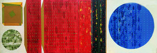 STELLAR 3 by V .Hariraam , Geometrical Painting, Acrylic on Canvas, Red color